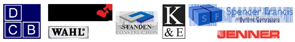 Customer Logos D C B Electronic Modular Services WAHL Standen Construstions K&E Spencer Francis Jenner