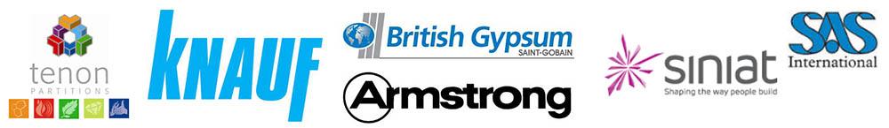 Supplier logos Tenon Knauf British Gypsum Armstrong Sinat SAS