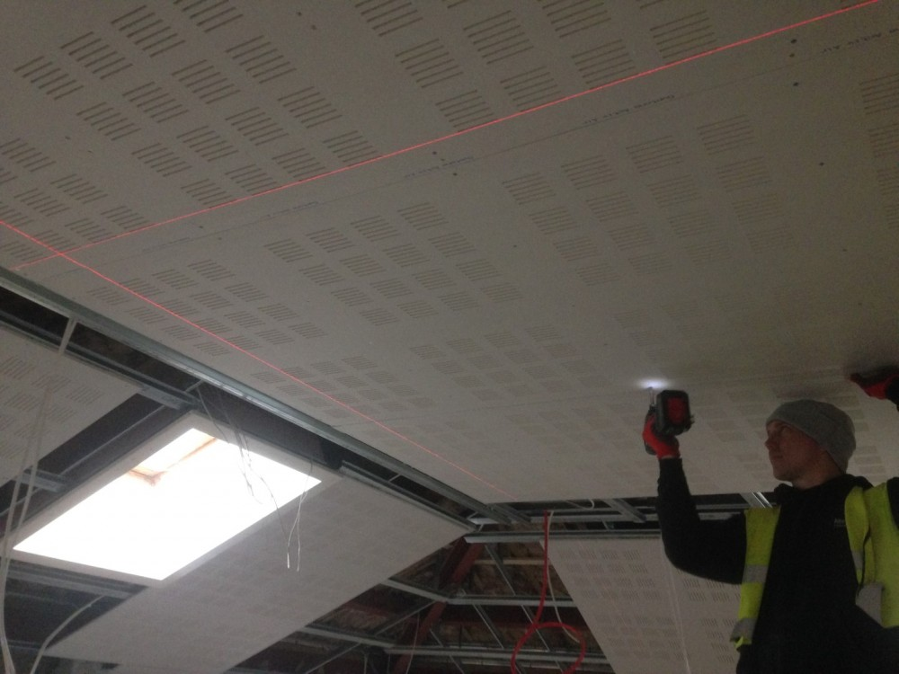 Gyptone High Spec Acoustic Ceiling with sloping rakes